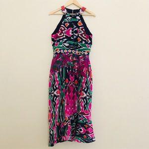 NEW SALONI Rubi Halter Print Midi Dress SZ 10